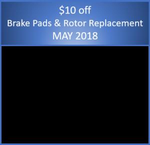 May 2018 – Brake Pads and Rotors