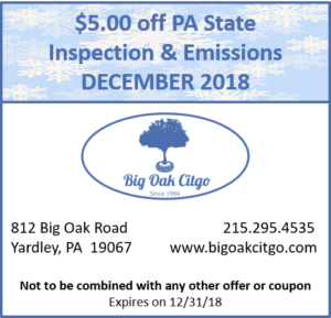 2018.12 $5 off PA State Inspection