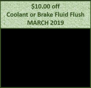 $10 Coolant or Brake Fluid Flush