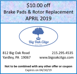 2019 April $10 off Brake Pads & Rotors
